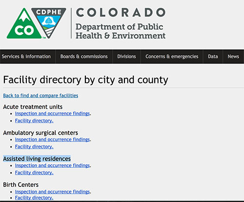 Facility Directory Colorado