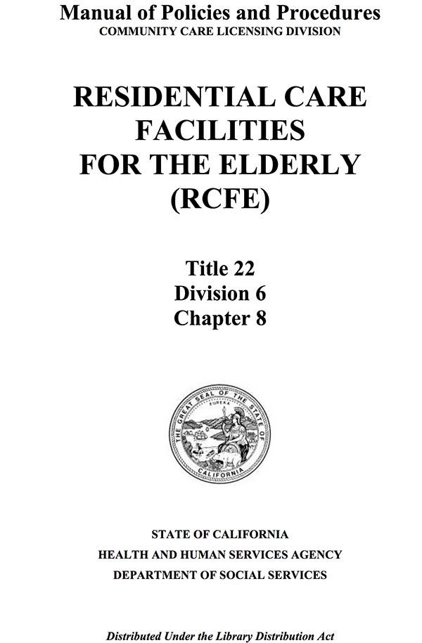 RCFE Regulations California