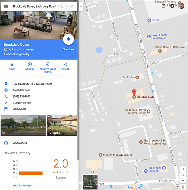 Google Maps facility example