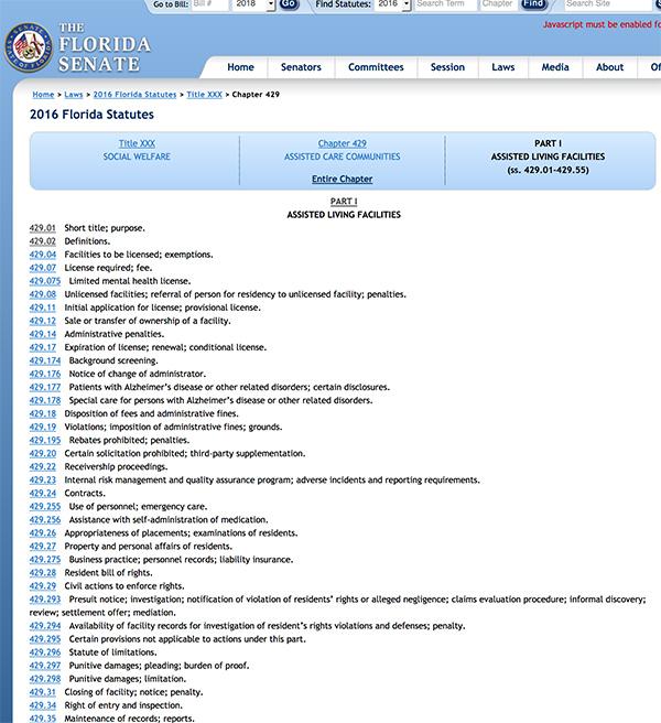 Florida Senate Statutes