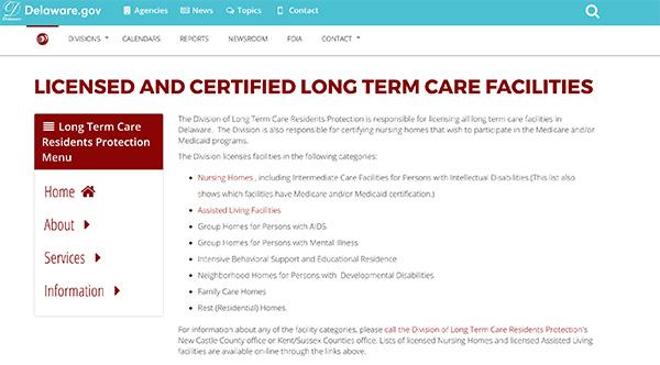 Delaware Licensed Facilities
