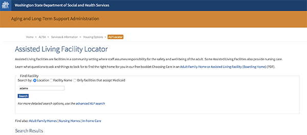 Assisted Living Facility Locator Washington