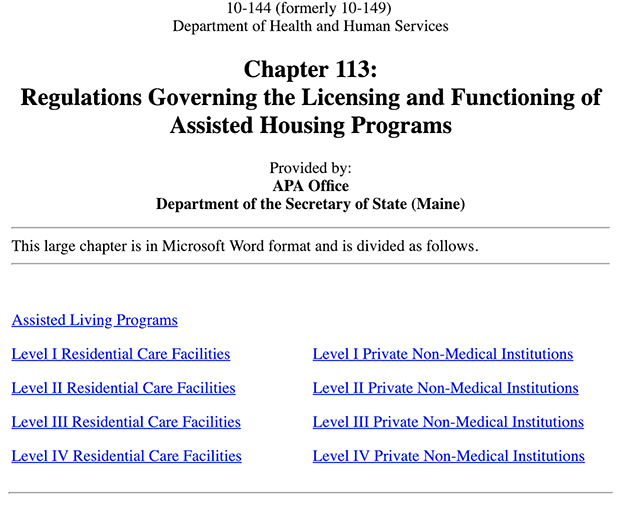 Assisted Living Regulations in Maine
