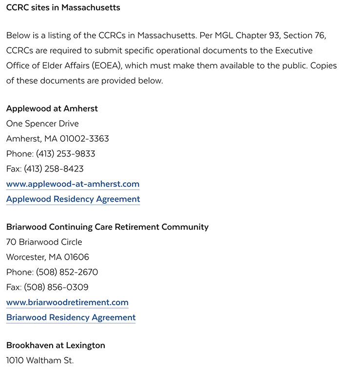 CCRC's in Massachusetts