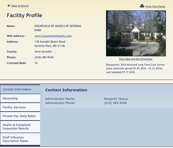 Facility Profile Page