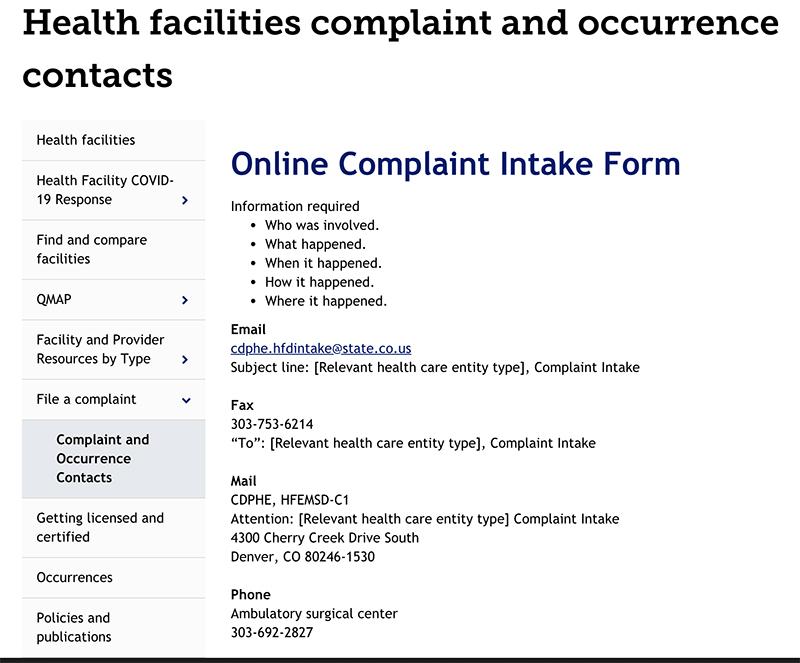 Complaints Contacts